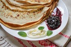 Pannkakor för frukost Arkivfoton