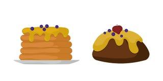 Pannkakor för konfekt för socker för efterrätt för sötsakmatbageri planlägger och karamell för godis för ferie för mellanmålchokl royaltyfri illustrationer