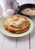 pannkakor Ingredienser för pannkakor Fotografering för Bildbyråer