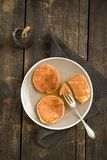 Pannkakor med blåbär arkivfoto