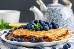 Pannkakor med blueberies Royaltyfri Foto