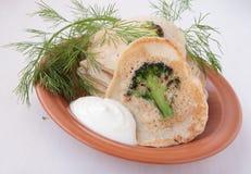 Pannkakor med broccoli Arkivfoton