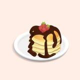 Pannkakor med choklad och jordgubbar Royaltyfria Foton