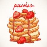 Pannkakor med jordgubbar Royaltyfri Bild