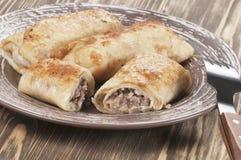 Pannkakor med kött Royaltyfria Foton