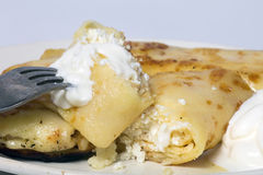Pannkakor med ost Royaltyfria Foton
