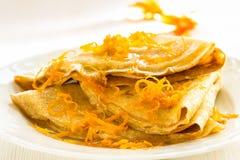 Pannkakor med söt citrus sås, kräppar Suzette Royaltyfri Foto