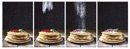 Pannkakor stänk, sockerpulver, bageri, Maslennitsa, Mardi Gras royaltyfri bild