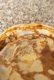 Pannkakor texturerar kithcen på tabellen - Flatlay den bästa sikten arkivbild