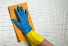 Panno arancio da pulire Fotografia Stock Libera da Diritti
