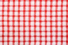 Panno controllato bianco e di colore rosso del reticolo Fotografia Stock Libera da Diritti