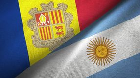 Panno del tessuto delle bandiere dell'Argentina e dell'Andorra due, struttura del tessuto royalty illustrazione gratis