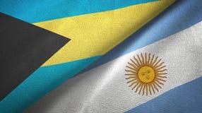Panno del tessuto delle bandiere dell'Argentina e delle Bahamas due, struttura del tessuto royalty illustrazione gratis
