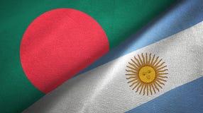 Panno del tessuto delle bandiere dell'Argentina e del Bangladesh due, struttura del tessuto illustrazione vettoriale