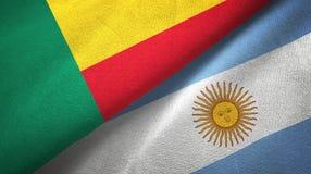 Panno del tessuto delle bandiere dell'Argentina e del Benin due, struttura del tessuto illustrazione vettoriale