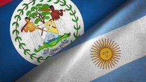 Panno del tessuto delle bandiere dell'Argentina e di Belize due, struttura del tessuto illustrazione di stock