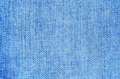 Panno delle blue jeans con la scenetta di struttura del fondo della cucitura Fotografia Stock