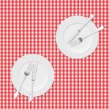 Panno e piatti di picnic Immagine Stock