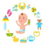 Pannolino infantile del bambino con peluche Teddy Bear Vector Immagini Stock