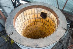 Pannor för pyrolys, att bearbeta och förfogande av gamla gummihjul Industriellt foto Arkivbilder