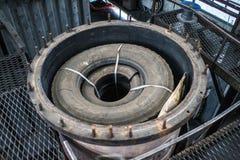 Pannor för pyrolys, att bearbeta och förfogande av gamla gummihjul Industriellt foto Arkivfoton