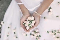 Panny młodej świętego communion pierwszy kwiaty Zdjęcie Royalty Free