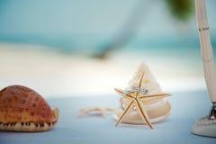 panny młodej ceremonii kwiatu ślub Pierścionki na długiej gwiazdzie tropikalny ślub obrazy stock
