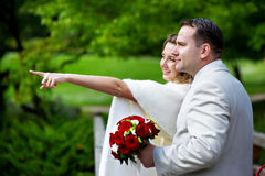 panny młodej fornala spaceru ślub Zdjęcie Stock