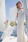 panny młodej fornala target2336_1_ biały jacht Obraz Royalty Free