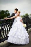 panny młodej mosta fornala szczęśliwy spaceru ślub Obraz Stock