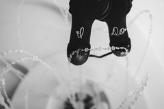 Panny młodej ` s buty z Robię majcherów Fotografia Stock