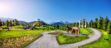 Pano of Almaty park stock photo