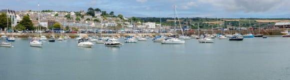 Pano av den Penzance hamnen, Cornwall England UK royaltyfri bild