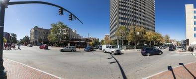 180 pano av i stadens centrum Asheville, NC Royaltyfria Foton