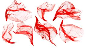 Pano da tela que flui no vento, seda vermelha de sopro de voo, branca foto de stock royalty free