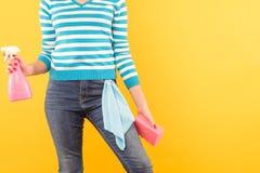 Pano de esponja do atomizador da mulher da tarefa da limpeza de janela imagem de stock