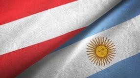 Pano de mat?ria t?xtil das bandeiras de ?ustria e de Argentina dois, textura da tela ilustração do vetor