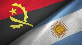 Pano de matéria têxtil das bandeiras de Angola e de Argentina dois, textura da tela ilustração royalty free