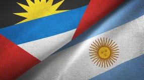 Pano de mat?ria t?xtil das bandeiras de Ant?gua e Barbuda e de Argentina dois, textura da tela ilustração royalty free