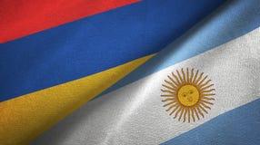 Pano de matéria têxtil das bandeiras de Armênia e de Argentina dois, textura da tela ilustração do vetor