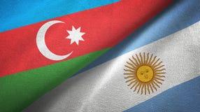 Pano de mat?ria t?xtil das bandeiras de Azerbaij?o e de Argentina dois, textura da tela ilustração royalty free
