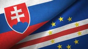 Pano de matéria têxtil das bandeiras de Cabo Verde dois de Eslováquia e do cabo, textura da tela ilustração stock