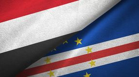 Pano de matéria têxtil das bandeiras de Cabo Verde dois de Iémen e do cabo, textura da tela ilustração stock