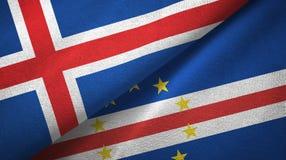 Pano de matéria têxtil das bandeiras de Cabo Verde dois de Islândia e de cabo, textura da tela ilustração royalty free