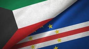Pano de matéria têxtil das bandeiras de Cabo Verde dois de Kuwait e do cabo, textura da tela ilustração do vetor