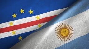 Pano de matéria têxtil das bandeiras de Cabo Verde e de Argentina dois, textura da tela ilustração stock