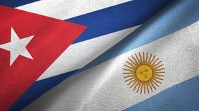 Pano de matéria têxtil das bandeiras de Cuba e de Argentina dois, textura da tela ilustração do vetor