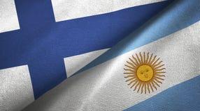 Pano de matéria têxtil das bandeiras de Finlandia e de Argentina dois, textura da tela ilustração do vetor