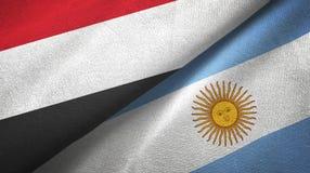 Pano de matéria têxtil das bandeiras de Iémen e de Argentina dois, textura da tela ilustração do vetor