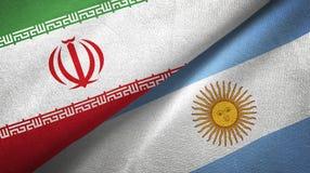 Pano de matéria têxtil das bandeiras de Irã e de Argentina dois, textura da tela ilustração do vetor